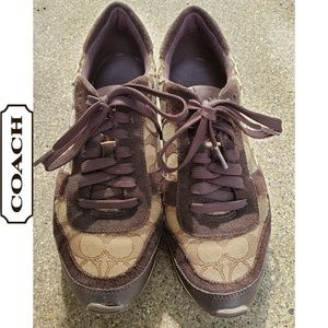 COACH 9.5 JAQUARD MONOGRAM SUEDE SHOES